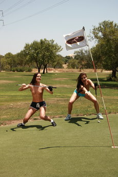 Jo And Sandra Shine In Topless Golfing - Picture 6