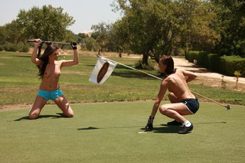 Jo And Sandra Shine In Topless Golfing - Picture 3