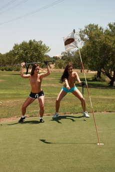 Jo And Sandra Shine In Topless Golfing - Picture 4