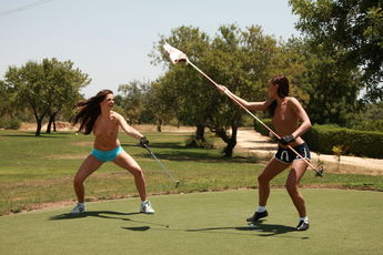 Jo And Sandra Shine In Topless Golfing - Picture 2