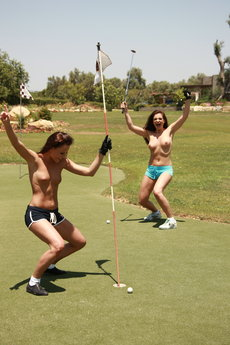 Jo And Sandra Shine In Topless Golfing - Picture 16
