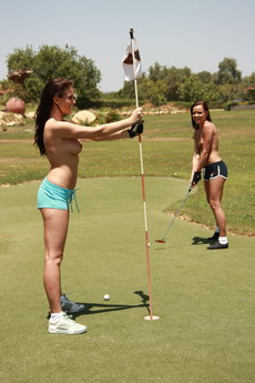 Jo And Sandra Shine In Topless Golfing - Picture 15